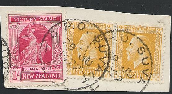 NEW ZEALAND USED IN FIJI 1922 piece GPO SUVA cds...........................50533