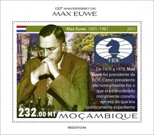 Mozambique 2021 MNH Chess Stamps Max Euwe Dutch Player Games Sports 1v S/S IV