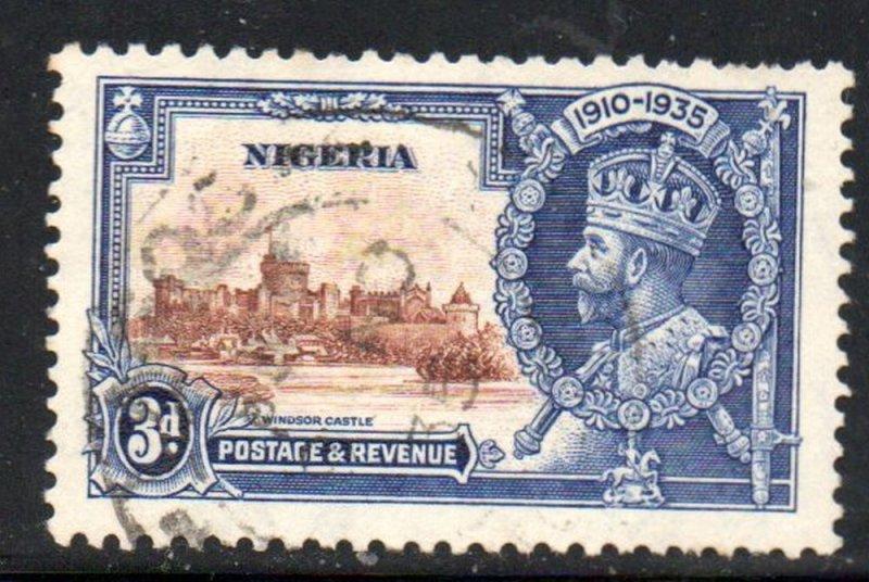 Nigeria Sc 36 1935 3d G V Silver Jubilee stamp used