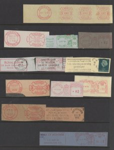 Assortment of Worldwide Stamp Meter Mailing Cancels, Various Postmarks Lot of 12