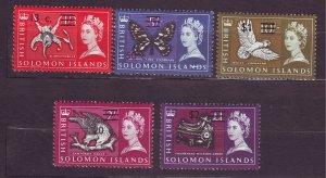 J23740 JLstamps 1966-7 solomos islands part of set  mh #159,161,164-6 ovpt,s
