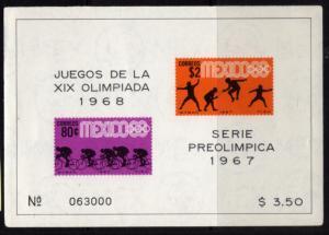 MEXICO Sc.#985a, 1968  OLYMPICS SOUVENIR SHEET OF 2 (233)