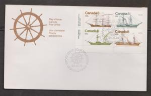 CANADA Scott # 673a On FDC # 1 - Canadian Ships Issue - L/L Inscription Block