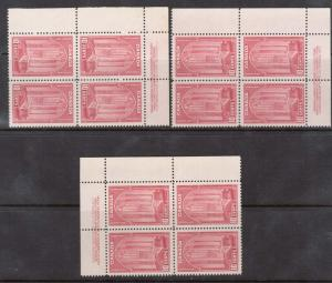 Canada #241a VF/NH Plate #1 UL UR LR Blocks