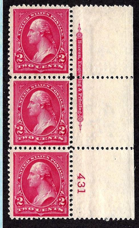 267 Mint,OG,NH... Plate# Strip of 3... SCV $57.50