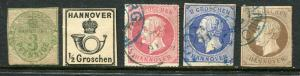 GR Lot 10138 German State Hannover 1864 MICHEL 21y-3pf  17-1-2Gr  23y-1Gr  15-2G