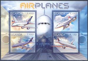 UGANDA 2012 TRANSPORT AIRPLANES CONCORDE AIRBUS A380 BOEING 777-300 SHEET