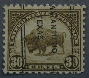 United States #569 30 Bison San Antonio Texas Precancel Used