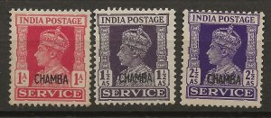 India Chamba 3 DIFF MLH F/VF 1941-46 SCV $20.25 (jr)