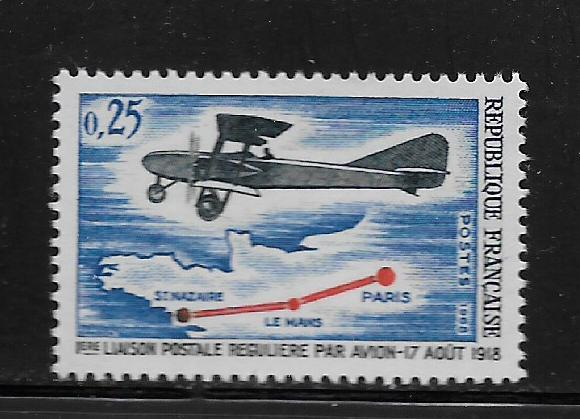 FRANCE, 1222, MNH,PLANE OVER MAP