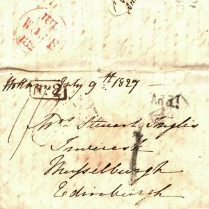GB SCOTLAND Cover Cross-Written Entire Letter Edinburgh 1827 {samwells} A141b