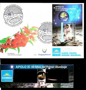 URUGUAY 2019 APOLO 11 SPACE MOON LANDING ANIVERSARY S/SHEET 3D WITH GLASSES FDC