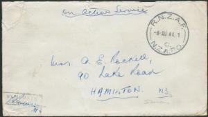 SOLOMON IS 1944 NZ FORCES cover RNZAF / C / NZAPO cds, censor.............11394