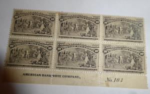 #237 Columbian plate block