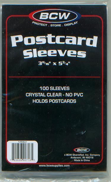 COVER SLEEVES- POST CARD (3-11/16 X 5 3/4-(100ea.) (CVB005)