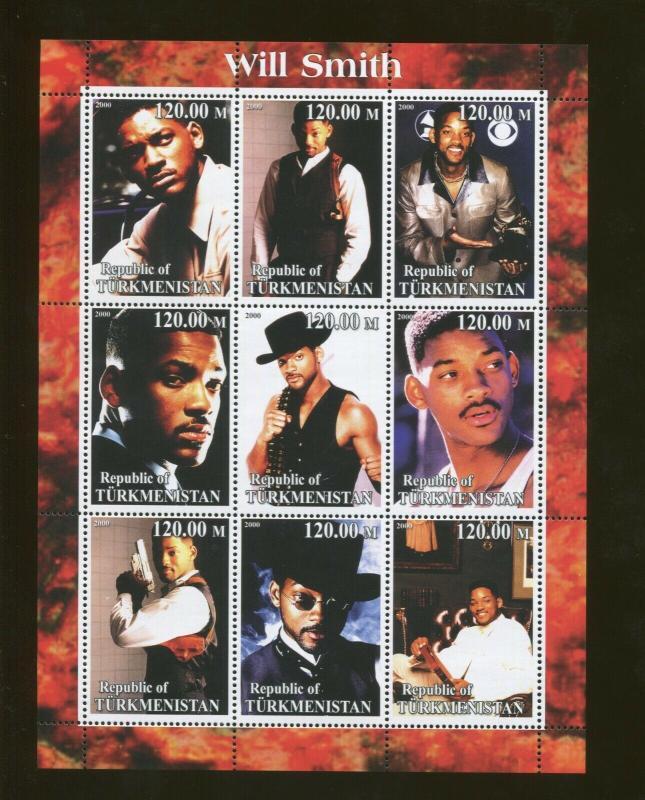 Turkmenistan Actor Will Smith Commemorative Souvenir Stamp Sheet