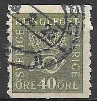 Sweden 1920 40 Ore, Crown and Post Horn, perf 10 Vertical, Coil, Scott #146, ...
