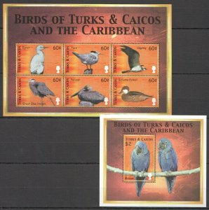 PK156 TURKS & CAICOS FAUNA BIRDS OF THE CARIBBEAN 1KB+1BL MNH STAMPS