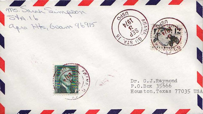 Guam 1c Jefferson and 12c Ford Prominent Americans 1974 Agana, GU Sta. No. 16...