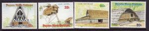 Papua New Guinea:SC#711-14-unused-NH-Thatched Dwellings-