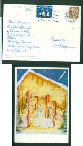 Denmark. Christmas Card 1957 With Seal + 20 Ore. Angels.Candles. Cancel: 24 Dec.