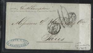 URUGUAY  (PP2701B) 1868  BRTISH PO MONTEVIDEO TO FRANCE