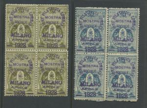 1928 ITALY INVERTED OVERPRINTS MESSE-MOSTRA MILANO POSTER STAMP BLOCKS (L126)