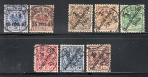 German East Africa 1893-96 Overprints 8 Stamps Used CV$166