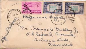 United States Delaware Wilmington 1944 numeral duplex  3c Telegraph and 5c Gr...