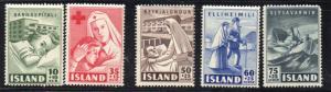 Iceland Sc B7-11 1949 Charity stamp set mint NH