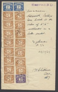 Great Britain, Scott J29, J31, J32 - 1949 Postage Due packet FRONT from Hanwell