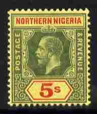 Northern Nigeria 1912 KG5 MCA 5s green & red on yello...