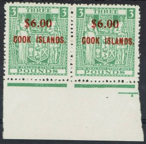 COOK ISLANDS 1967 ARMS NEW ZEALAND $6.00 ON 3 POUNDS MNH ** PAIR