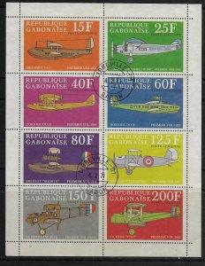 GABON   C103a    USED AIRPLANES SOUVENIR SHEET