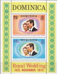 Dominica, Sc 373a (1-2), MNH, 1973, Royal Wedding