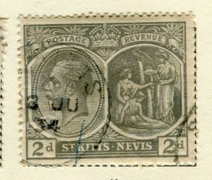 ST.KITTS; 1921 early GV issue fine used Columbus issue 2d. value