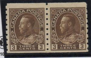 Canada Sc 129 1918 3 c brown G V Admiral stamp coil pair mint