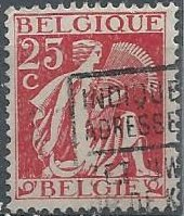 Belgium 249 (used) 25c gleaner, deep red (1932)