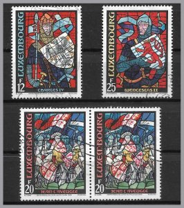 LUXEMBOURG 1989 - Stained glass windows set of 3 - used - royalty - Sc 821-823