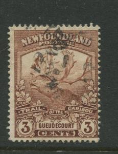 Newfoundland - Scott 117 - Caribou Issue - 1919 - FU - Single 3c Stamp