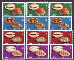 J22204 Jlstamps 3 1980 tuvalu sets mnh #129-32 sea shells