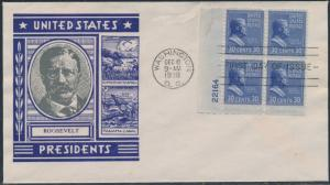 #830 ROOSEVELT STAEHLE FDC CACHET WITH PLATE NO. BLOCK OF 4 CV $300 BS8532
