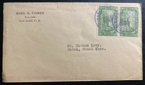 1928 San Jose Costa Rica Commercial cover to Gatun canal Zone Panama