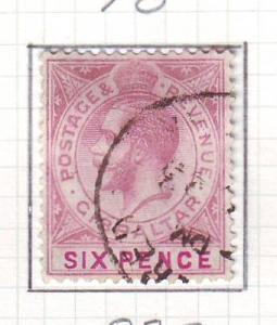 Gibraltar Sc 82a 1923 6 d G V stamp used