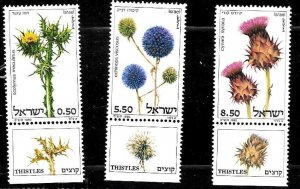 #8021 ISRAEL 1980 FLORA FLOWERS  YV 757-9  WITH TAB MNH