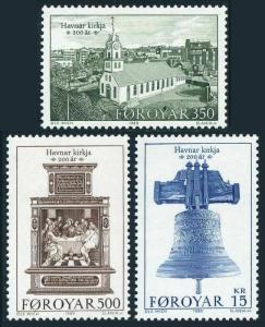 Faroe 186-188,MNH.Michel 179-181. Havnar Church Torshavn,200th Ann.1989.