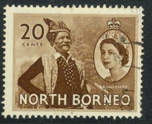 NORTH BORNEO 1954-57 QE2 20c BAJAU CHIEF Pictorial Sc 269 VFU