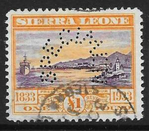 SIERRA LEONE SG180s 1933 WILBERFORCE £1 VIOLET & ORANGE SPECIMEN  USED
