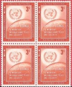 United Nations: 1957 Issued to Honor the Security Council    Blocks of 4 MNH