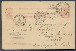 LUXEMBOURG: 1889 Postal Card from Luxembourgville Railroad Station to BRAZIL
